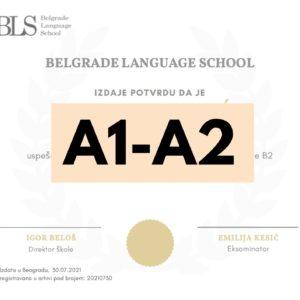 Serbian Language Level Assessment (A1-A2)