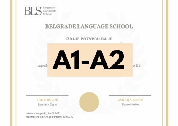 serbian test certificate A1-A2